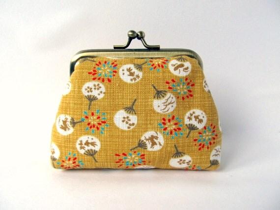 Coin purse Kiss lock purse Japanese fans Fireworks Mustard yellow chocolate brown Change purse