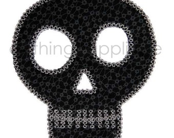 Skull Applique Design - Satin Stitch and Vintage Stitch - 3 Sizes - INSTANT DOWNLOAD