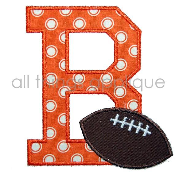 Football Applique Alphabet - ONE LETTER - 3 Sizes - Sports Applique