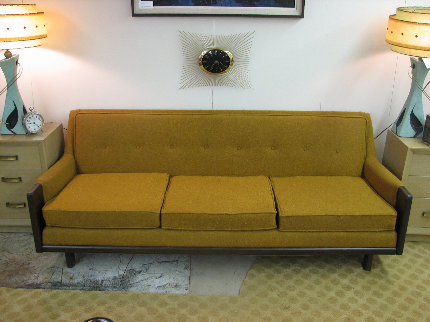 Mid century modern danish retro vintage upholstered sofa discounted shipping lower 48 states 🔎zoom
