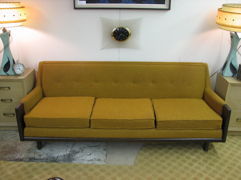 mid century modern danish retro vintage upholstered sofa. Black Bedroom Furniture Sets. Home Design Ideas