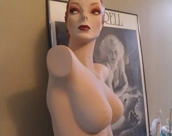Vintage Full Body Counter Mannequin, Millinery Display, Life Size Prop.