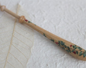 Painted Bayeux Lace Bobbin - spiral berries and leaves