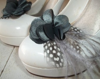 Bridal Shoe Clips - Charcoal gray satin flower shoe clips, Feathered Shoe Clips, Wedding Shoe Clips