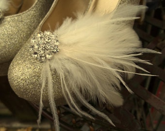 Bridal Shoe Clips, Wedding Shoe CLips, Feather Shoe Clips, Rhinestone SHoe CLips, Fancy Shoe CLips, Clips for Bridal Shoes, Wedding SHoes