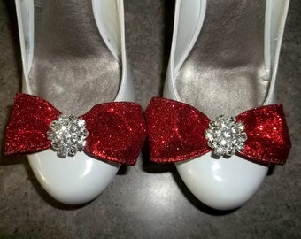 Wedding Shoe Clips, Glitter Bows, Clips, Shoe Clips, Rhinestone Shoe Clips, Glitter Bows, Red, Gold, Blue, Purple, ShoeClipsOnly