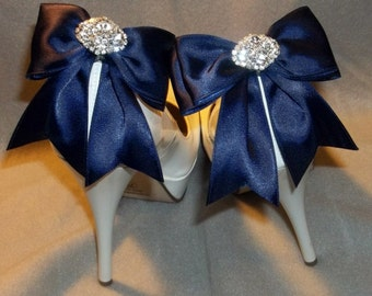 Satin Bow Shoe Clips - set of 2 - with sparkling rhinestones, Bridal Shoe Clips, Many colors to shoose from