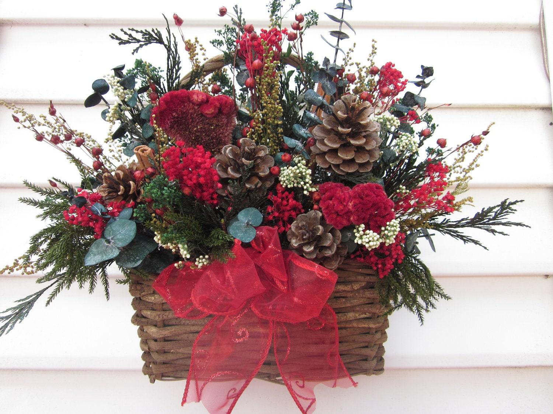 Rustic Basket Dried Flower Wall Arrangement Christmas Flowers