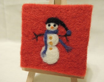 Needle-felted Blue Scarf Snowman on Mini-Canvas with easel