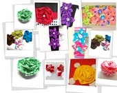 Fabric Flower Tutorial Bundle, Five Flower Pattern, pdf pattern