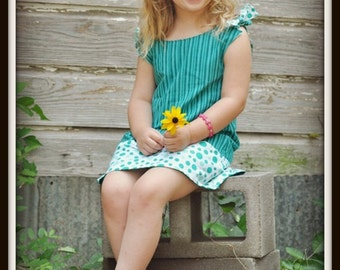 Girls Sewing Pattern for a Reversible Dress, INSTANT DOWNLOAD, Allison Reversible Dress, Newborn to 8 years,