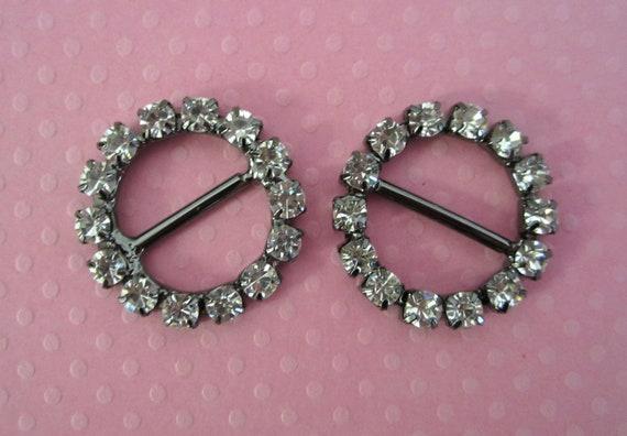 Gunmetal Rhinestone Buckles Sliders For Bridal Wear, Scrapbooking, Sewing -- 2pcs
