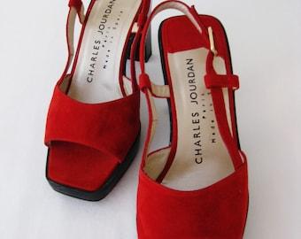 Charles Jourdan Cherry Red Suede Leather Retro Heels