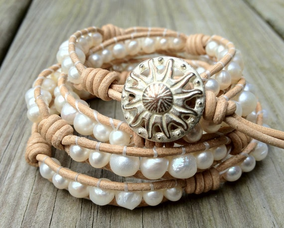 Luminous Freshwater Pearl Leather Wrap Bracelet 4X-Ships IMMEDIATELY From Vermont
