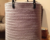 Wool basket in putty color with black leather handles,reserved for Jenna