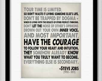 Steve Jobs Quote in Black and Grey - Your Time is Limited - Typography Print 8x10 or Larger