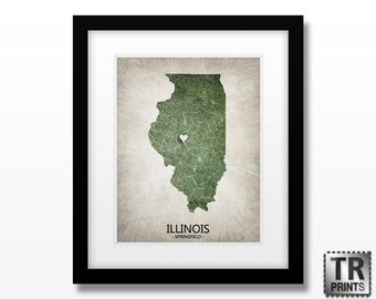 Illinois State Map Art Print - Choose your City & Color - Home Town Love Original Custom Giclee Art Print in Multiple Size and Color Options