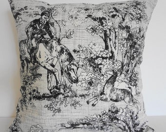 Victorian Pillow Cover, Covington Fabric and Design,  Toile, Haddon, Ebony, Ivory, Black and White, 18 x 18, Cushion Cover