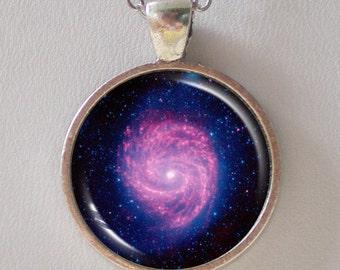 Swirling Galaxy Necklace - Galaxy M100 Spiral - Galaxy Series (G024)