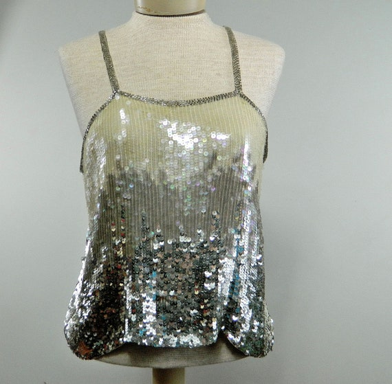vintage sparkly sequin tank top . silver white ombre . Glam