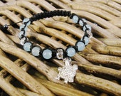 Energy bracelet, good luck, protection, happiness, light blue jade, mountain crystal, macrame, turtle charm