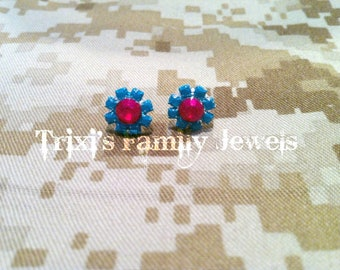 Neon Turquoise and Burgundy Hand Painted Rhinestone Earrings