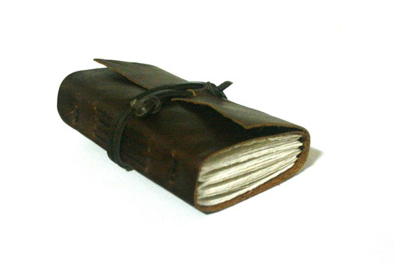 Leather Journal, Brown, Hand-Bound 3.5 x 4 Journal by The Orange Windmill on Etsy