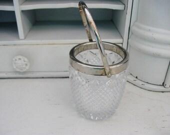 Vintage Mini Crystal Ice Bucket, Hollywood Regency, Vintage Silver, Wedding Decor