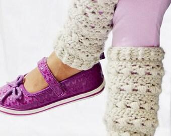 Crochet Toddler Leg Warmers 2T - 4T Natural Heather:  K1011