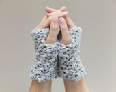 Crochet Wrist Warmers - fingerless mittens in grey - gray - Fingerless Gloves