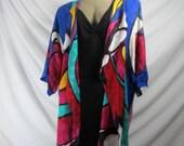 Vintage 1980's Yolanda Lorente Hand Painted Silk Jacket now half price was 90.00