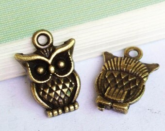 25pcs of Antique Bronze Lovely Owl Charm Pendant 11x16mm E406-2