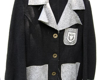 Patch 22 Black and Grey Jacket Size M  Preppy Artsy Victorian yippie BoHo Steampunk Goth