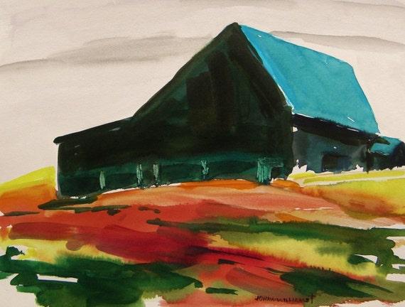 Hillside Dominance Original Watercolor Farm Landscape JMW Portfolio Painter John Williams Expressionism