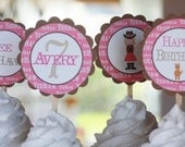 12 Pink Brown Cowgirl Theme Birthday Cupcake or Cake Toppers - Ask About our Party Pack Sale - CUSTOM - Free Ship Over 65.00