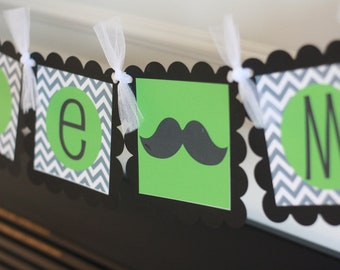 "Mustache Bash, Tie or Bowtie Baby Shower or Birthday Black Grey & Lime Chevron ""Little Man"" or ""Its a Boy"" Banner"