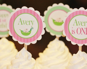 12 Pea Sweet Pea Pink Green Theme Birthday Cupcake or Cake Toppers - Ask About our Party Pack Sale - Free Ship Over 65.00