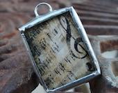 Vintage Sheet Music Reversible Soldered Charm Necklace