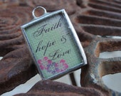 Faith Hope & Love Reversible Soldered Charm Necklace