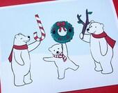 Cute Christmas Card Set - Polar Bear Holiday Cards (Set of 6)