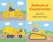 Construction Kids Art - Sloth, Aardvark, Capybara (Set of 3 Prints - 8x10)