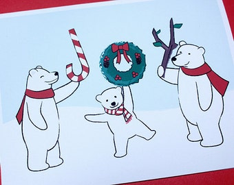 Cute Christmas Card Set - Polar Bear Holiday Cards (Set of 6)