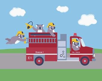 Fire Truck Nursery Art - Fire Engine - Fireman Koala Children's Art Print