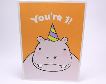 1st Birthday Card - Kids First Birthday Greeting Cards - Hippo