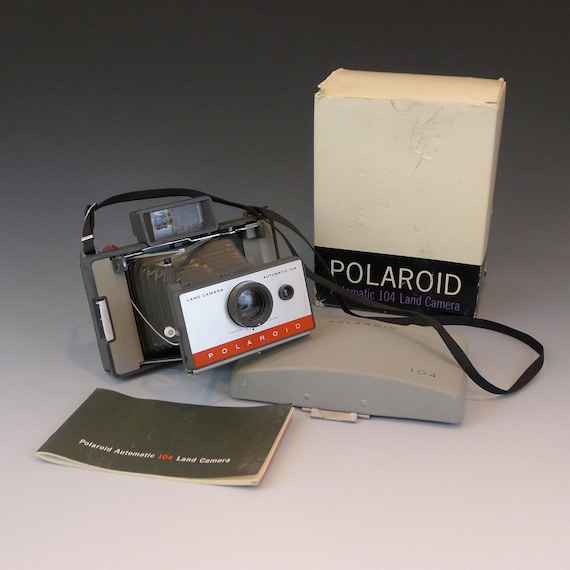 Working Polaroid Land Camera 104 Instant Photo with New Film, Manual, and Original Box