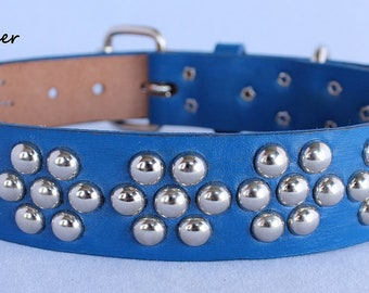 Blue Leather Dog Collar-Flower Power