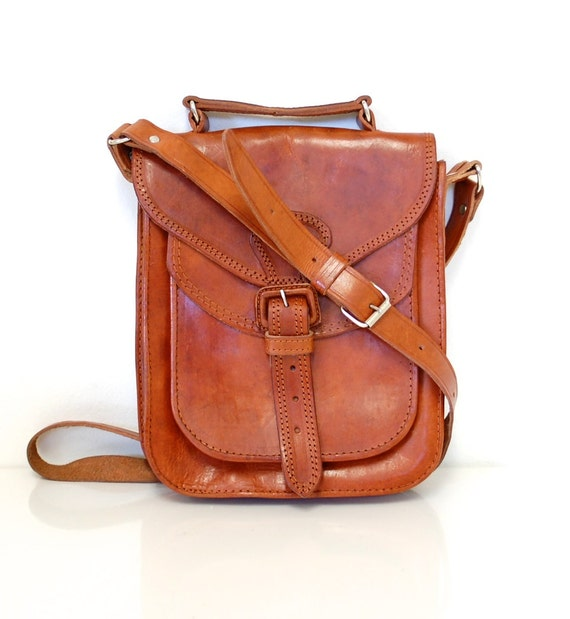 Tan Leather Vintage Crossbody Purse
