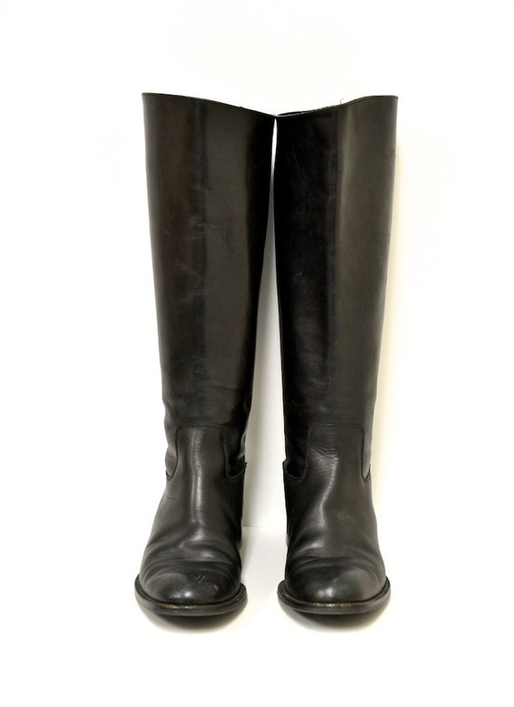 7 5 vintage sudini italian black leather boots