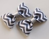 Chevron Hair Clips, Set of 2 Hair Clips, Simple Bow Tie Tuxedo Hairbows, Pigtails or Toddler Hair, 2 1/2 inch Bow, 2.5, Gray Grey White
