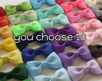 Tuxedo Hairbows, Set of 10, Basic Hairbows, You Choose Color, Tuxedo Bow, Bow Tie Hairbows, Pigtails, Toddler Size, Back to School